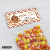 Thanksgiving Turkey Toes Printable Candy Goody Treat Bag Toppers