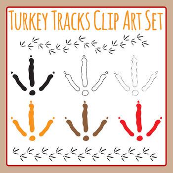 Thanksgiving Turkey Tracks / Foot Prints Clip Art Set for