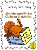 Turkey Writing Short Research Challenges & Activities