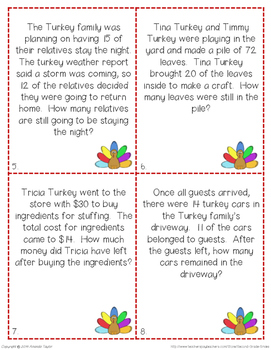 Thanksgiving Two-Digit Subtraction