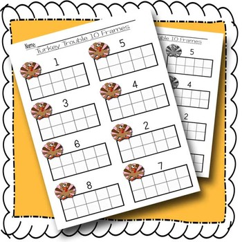 Thanksgiving Turkey Trouble:  Number Recognition 1-10 with 10 frames and dice