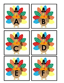 Thanksgiving Turkey Uppercase and Indian Lower Case Match Game Cards
