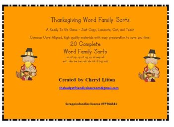 Thanksgiving Turkey Word Family Sorts With 20 Most Commonly Used Word Families