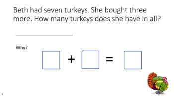 Thanksgiving Turkey Word Problems for Addition and Subtraction within 20