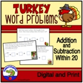 Thanksgiving Turkey Word Problems for Addition and Subtrac