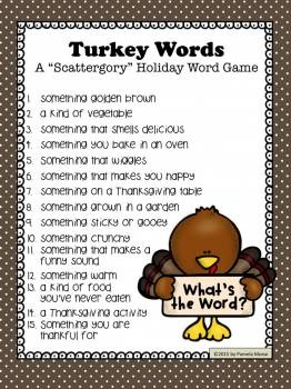 """Thanksgiving Turkey Words """"Scattergory-type"""" Word Game"""