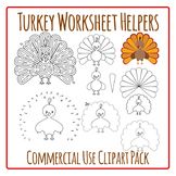 Thanksgiving Turkey Worksheet Helpers Clip Art Pack for Commercial Use