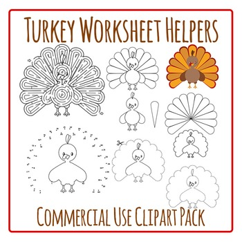 Thanksgiving Turkey Worksheet Helpers Clip Art Pack for Co