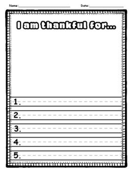 Thanksgiving Turkey Writing