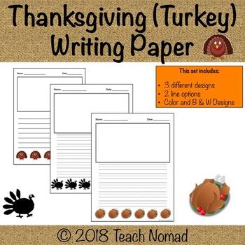 Thanksgiving Turkey Writing Paper