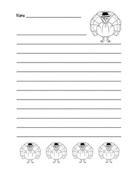 """""""Thanksgiving Turkey"""" Writing Sheets – For Common Core Writing! (black line)"""