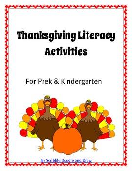 Thanksgiving Turkey literacy center activities for prek and kindergarten