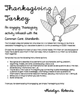 Thanksgiving Turkey templates with CCSS