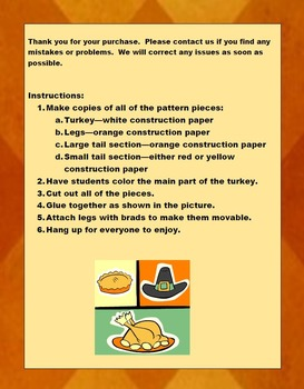 Thanksgiving Turkey with Movable Legs Craftivity