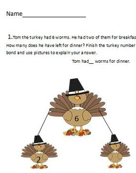 Thanksgiving Math - A Great first grade /Number bond packet!!