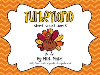 Thanksgiving Turkeyland Short Vowel Gameboard