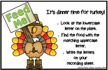 Thanksgiving Turkeys: Alphabet, Initial and Ending Sounds