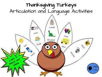 Thanksgiving Turkeys:  Articulation and Language Activities