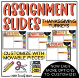 Thanksgiving Turkeys Assignment Slides