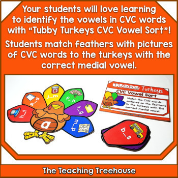 Thanksgiving CVC Vowel Sort ~ Activity