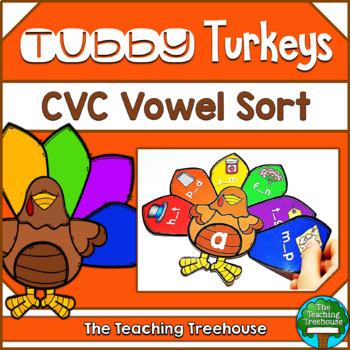 Thanksgiving CVC Vowel Sort Activtity