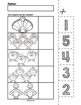 Thanksgiving Turkeys Cut & Match Worksheets | Numbers 1-5 ...