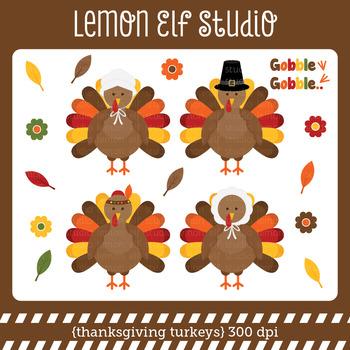 Thanksgiving Turkeys-Digital Clipart (LES.CL60)
