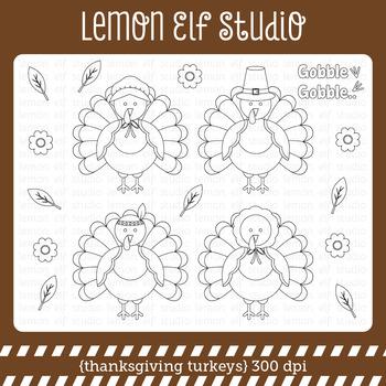 Thanksgiving Turkeys-Digital Stamp (LES.DS60)