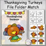 Thanksgiving Turkeys File Folder Match