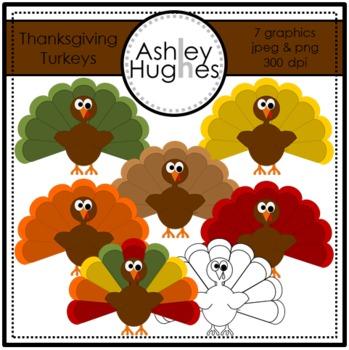 Thanksgiving Turkeys Clipart {A Hughes Design}