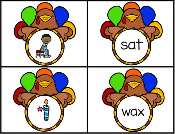 Thanksgiving Turkeys Matching CVC Words With Short A Sound