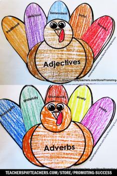 Thanksgiving Activities, Parts of Speech Interactive Notebook TURKEYS