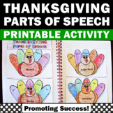 Parts of Speech Interactive Notebook Thanksgiving Literacy