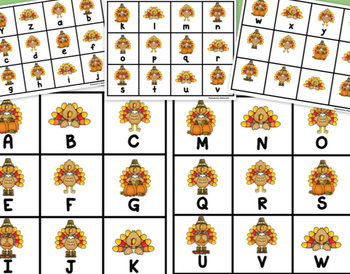 """Thanksgiving Turkeys: """"Roll, Say, Keep!"""" Alphabet Center, Game, and Printables"""