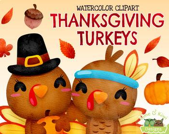 Thanksgiving Turkeys Watercolor Clipart | Instant  Download Vector Art