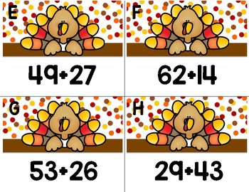 Thanksgiving Two Digit Addition Scoot