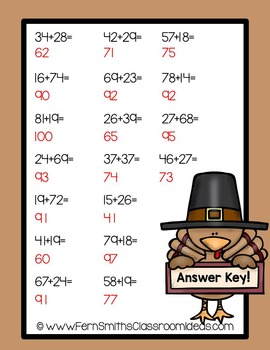 Thanksgiving Math Quick and Easy to Prep Center Two Digit Addition Regrouping