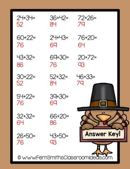 Thanksgiving Math Quick and Easy to Prep Center Two Digit Addition No Regrouping