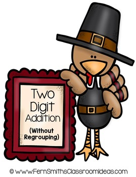 Thanksgiving Math Center Two Digit Addition No Regrouping