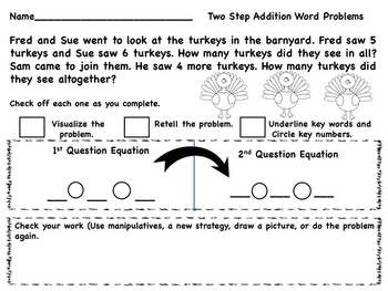 Thanksgiving Two Part or Multi-Step Word Problems