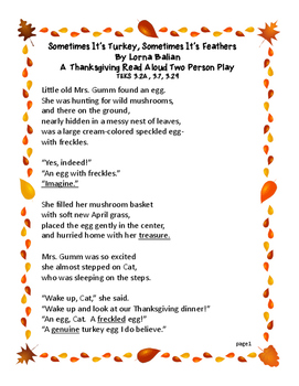 Thanksgiving: Two Person Read Aloud Play: TEKS included