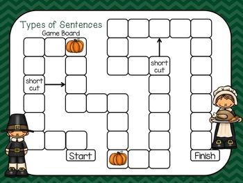 Thanksgiving Types of Sentences - Ending Punctuation Game Task Cards