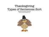 Thanksgiving Types of Sentences Sort