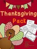 Thanksgiving Pack: Task Cards, Journal, Comprehension, Gra