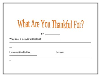 Thanksgiving Unit Plan