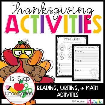 Thanksgiving Unit with Math, Writing, Reading, & Word Work Centers