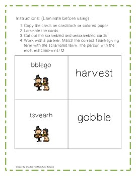 Thanksgiving Word Unscramble Fun Matching Game: 2nd, 3rd, and 4th Grade