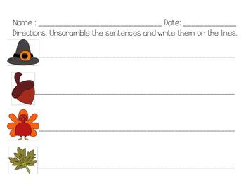 Thanksgiving Unscramble the Sentences