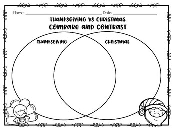 Thanksgiving VS Christmas: Compare and Contrast Printable Worksheets