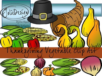 Thanksgiving Vegetables Clip Art - Color and Line Art 30 pc set